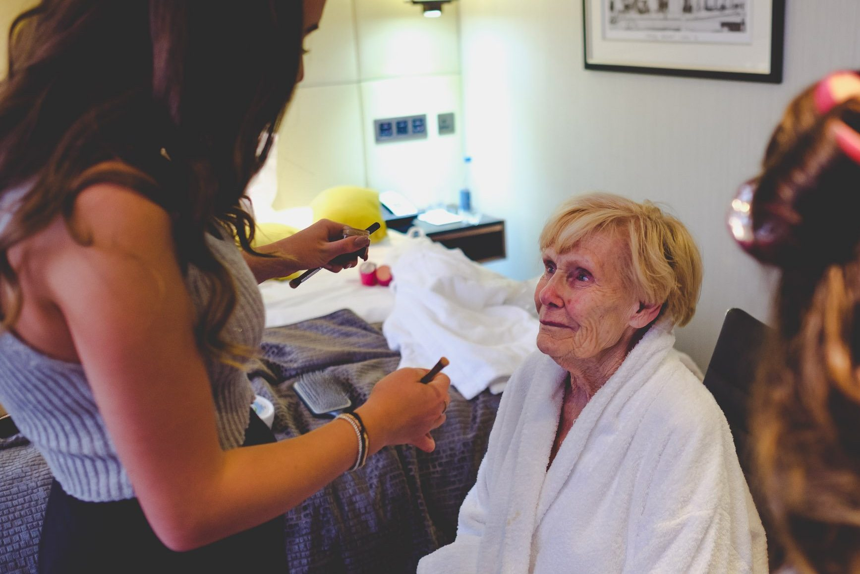 Crying grandma getting ready at The Montcalm Hotel Finsbury Square London. Photography by thatthingyoupluck