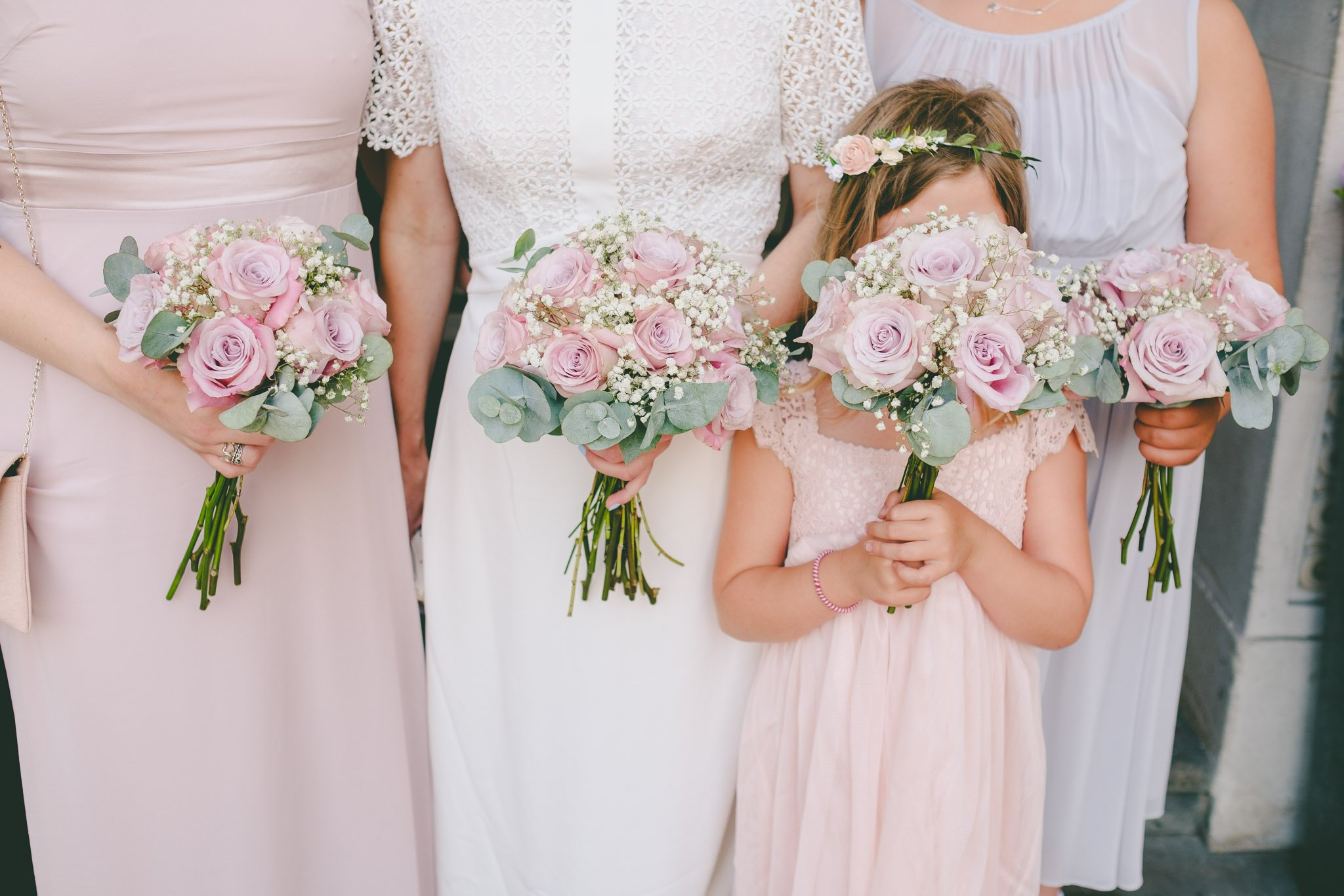 Close up of bouquet's of flowers being held by bride and bridesmaids at a London wedding. Photography by thatthingyoupluck.